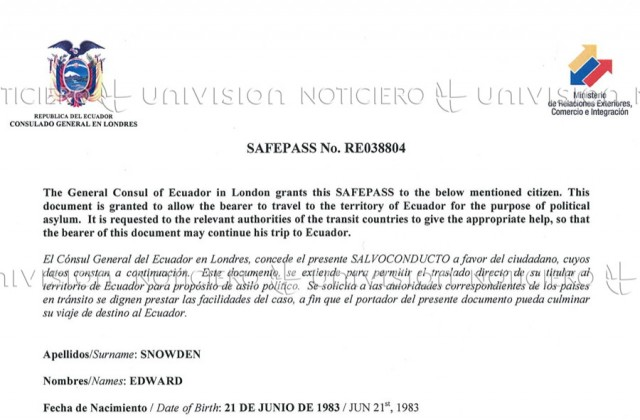 "Ecuador: Snowden travel doc issued from London embassy ""has no validity"""