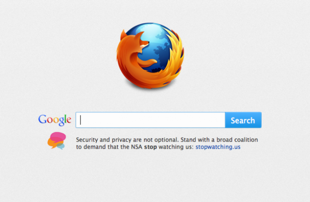 Mozilla wants users to visit Stopwatching.us, a site opposed to government spying online.