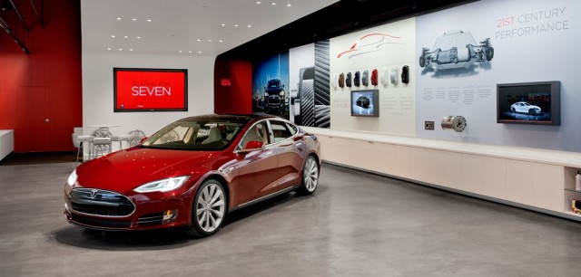 Inside a Tesla showroom.