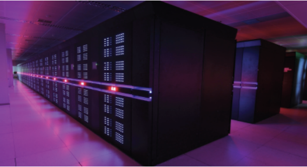 Lights on the Tianhe-2 supercomputer change color depending on the power load.