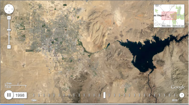 A frame of Timelapse's view of the growth of Las Vegas, Nevada.