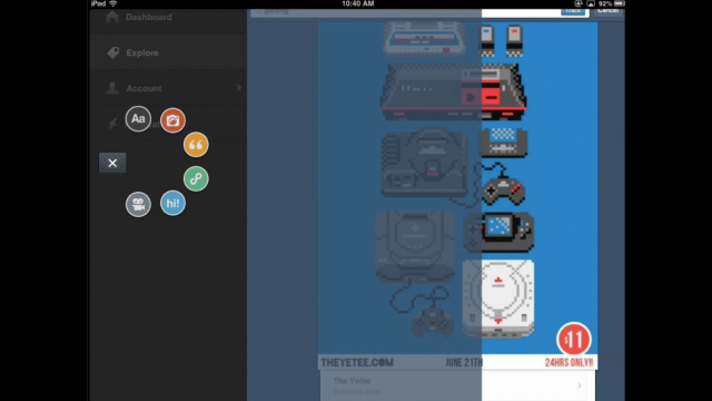 Final UI element: This radiating creation tool was born, developed, tested, and refined from the sketch seen above.