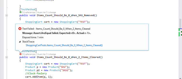 Visual Studio 2013 showing information about a test failure from within the code editor.