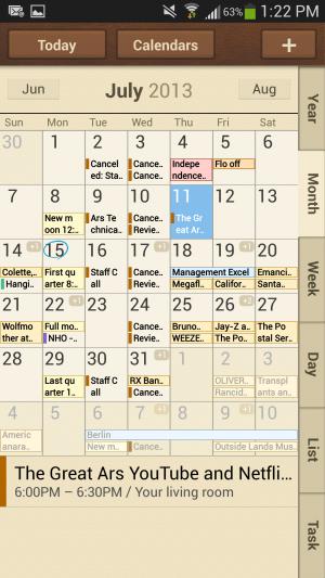 Samsung's TouchWiz calendar application.