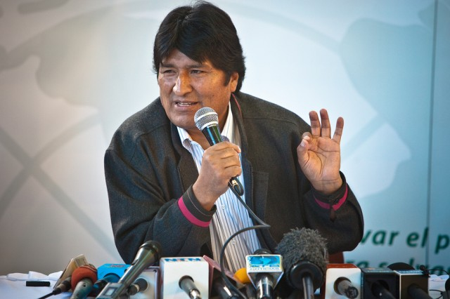 Bolivian President Evo Morales, shown here at a press conference in 2010, now says Snowden's asylum is a-ok.