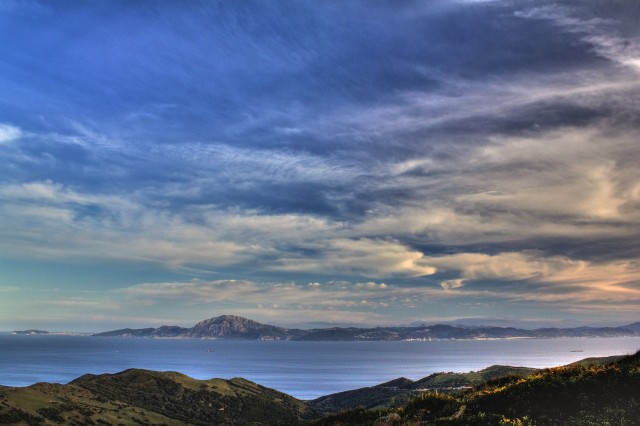 View to the south across the Strait of Gibraltar.