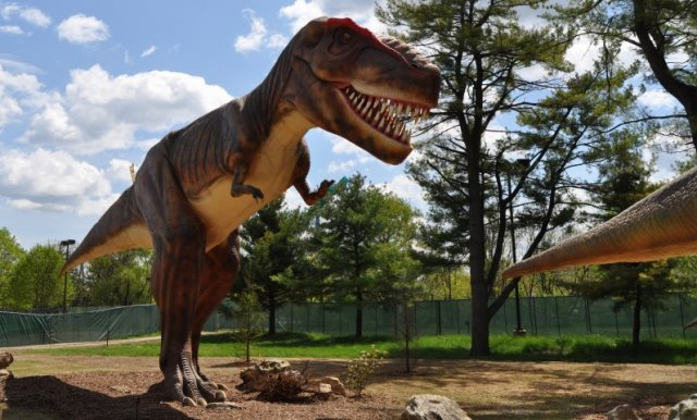 T. rex hunting—not scavenging—at a Pennsylvania theme park.