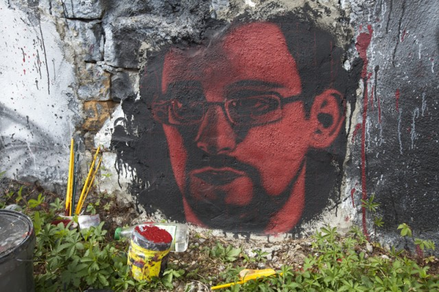 "Ed Snowden, as depicted at the France-based ""Abode of Chaos."""