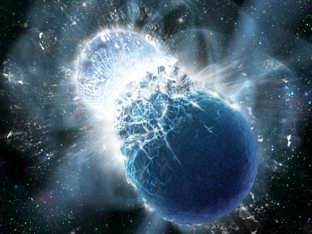 Artist's impression of two neutron stars colliding. Such an event is the likely cause of short-duration gamma-ray bursts. A new observation may show such events produce heavy elements like gold.