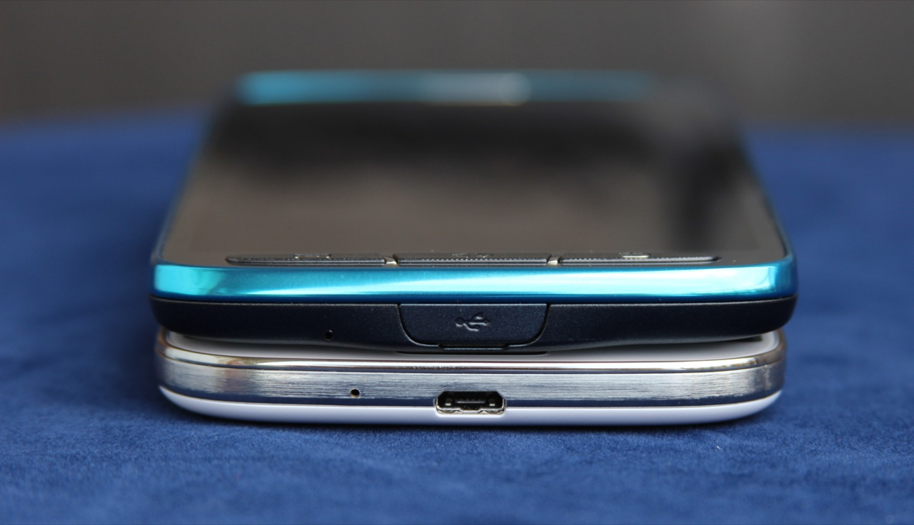 The micro USB port on the bottom of the phone has a small cover to keep it from getting wet when submerged.