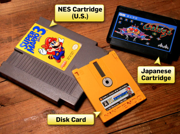 Note the drastic differences between American and Japanese game cartridges. The disk card pictured here was intended for use with the Japan-only Famicom Disk System.