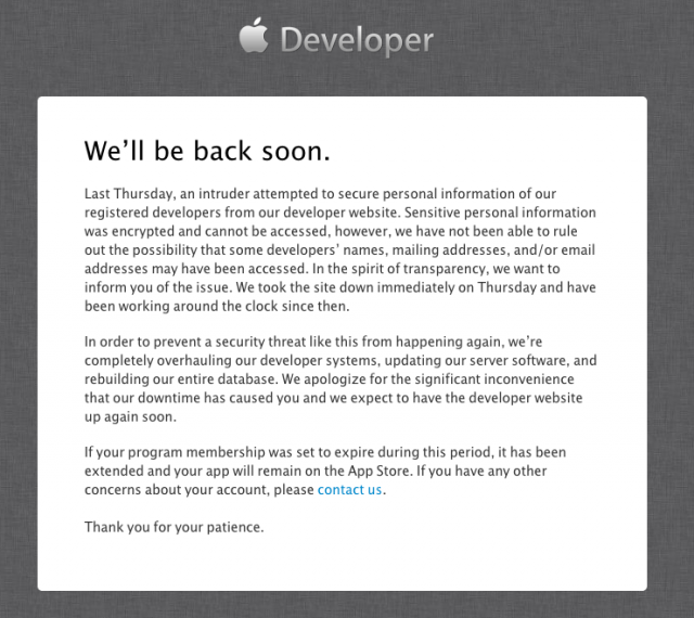 "Apple blames days-long Developer Center outage on ""intruder"""