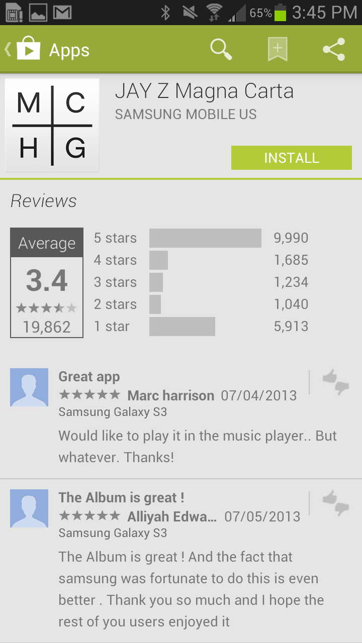 As of this writing, the Jay Z Magna Carta app has nearly 10,000 5-star reviews, but nearly 6,000 1-star reviews.