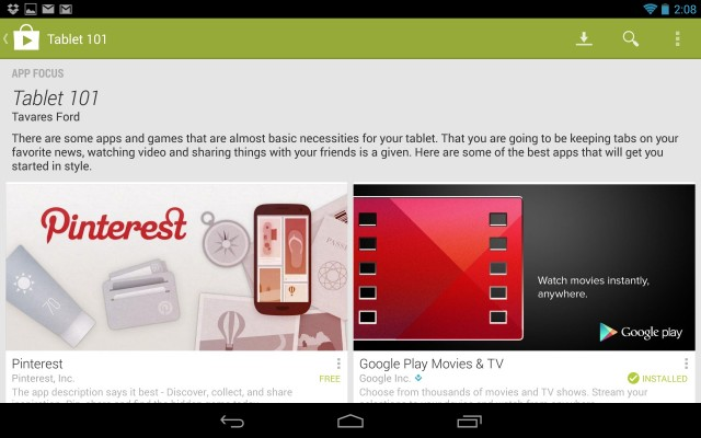 Google continues to push developers to make Android tablet apps by featuring them prominently in Google Play.