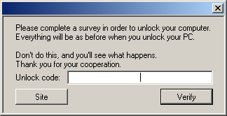 A popup box displayed on computers infected by Shadowlock.