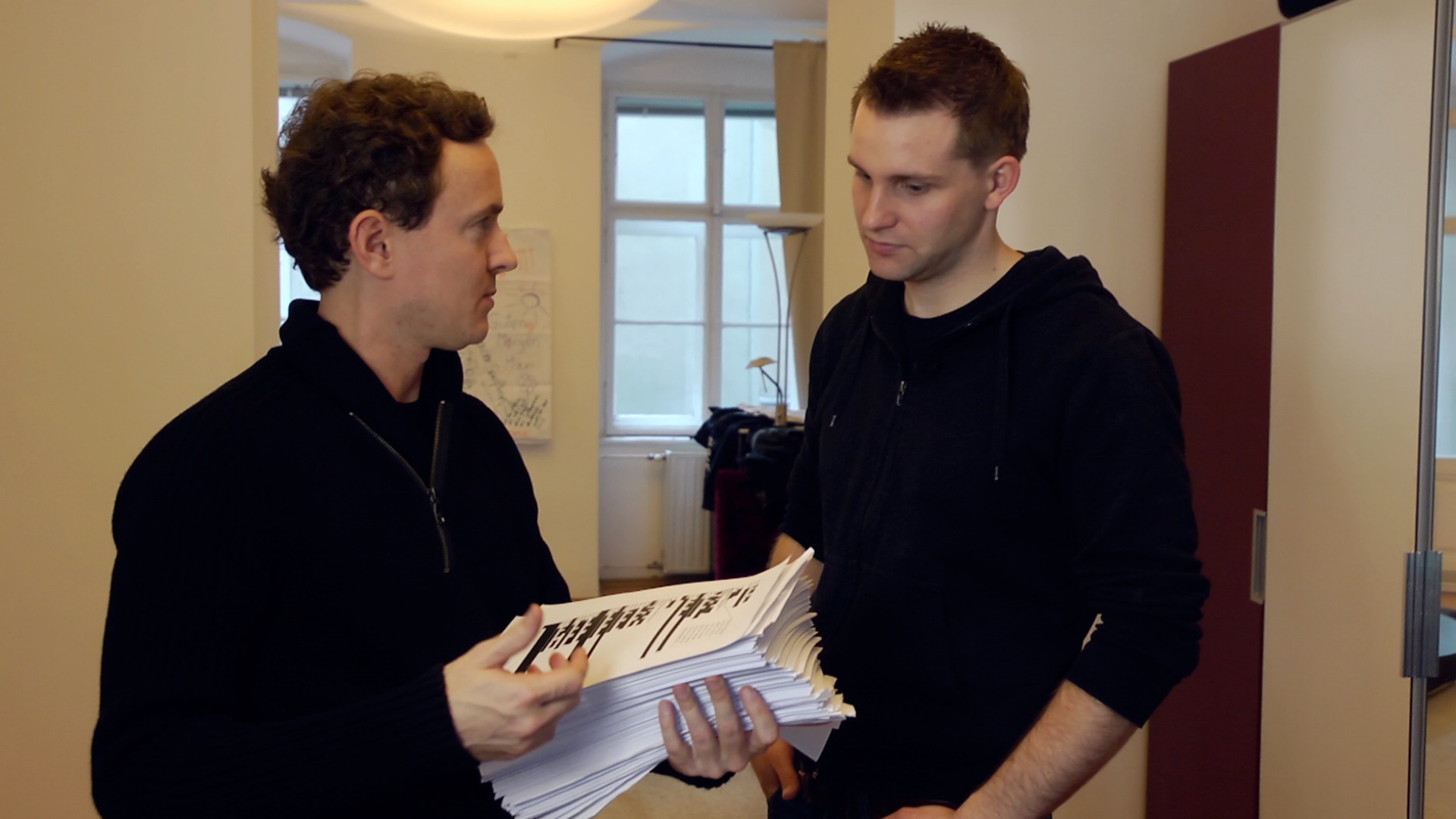 Filmmaker Cullen Hoback (left) interviewed Max Schrems, an Austrian law student and activist, in Vienna.