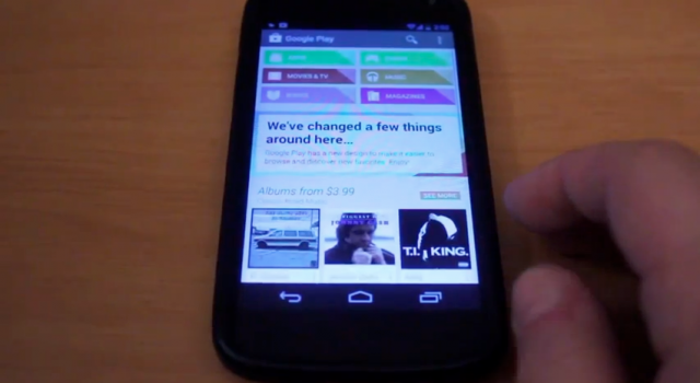 The new Google Play store on a video recorded of Android 4.3 on the Nexus 4.