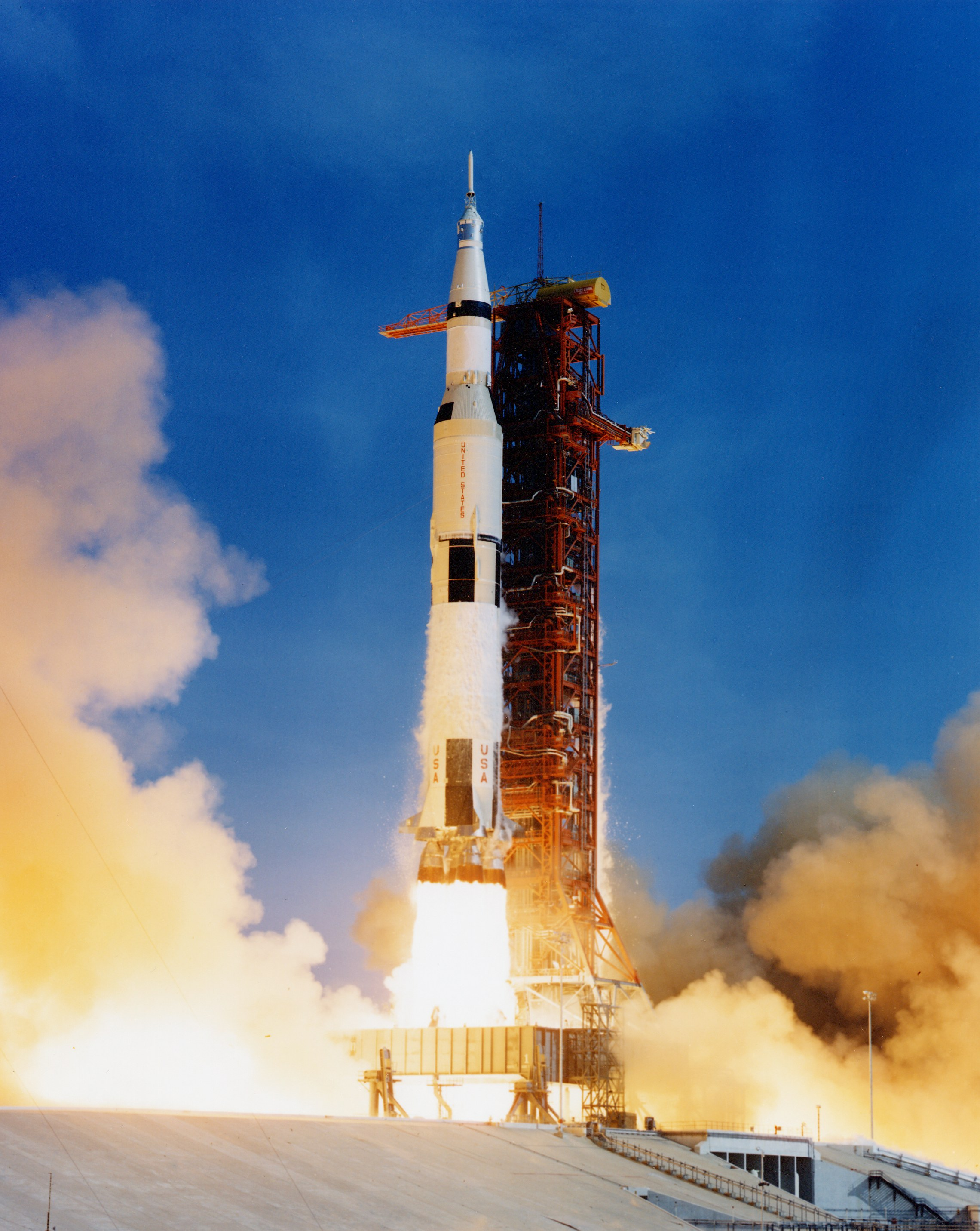 Apollo 11 and Saturn V number SA-506, moments after lift-off.