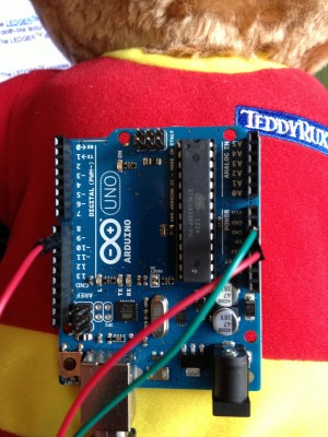The Arduino Uno board, spliced into BearDuino's servos and ready to unleash furry hell.