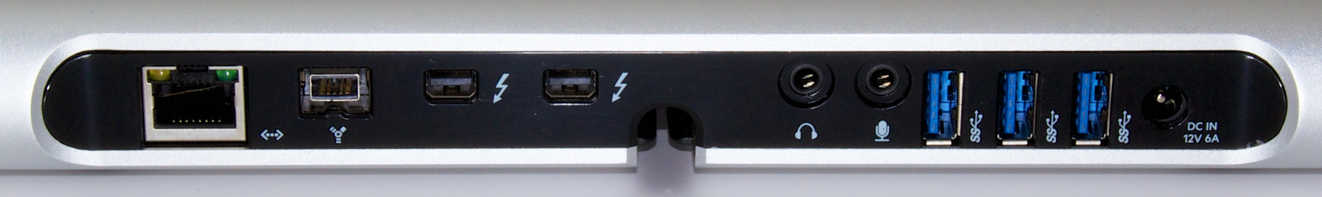 Ports on the back of the Thunderbolt Express Dock. Those USB 3.0 ports are limited to 2.5Gbps.