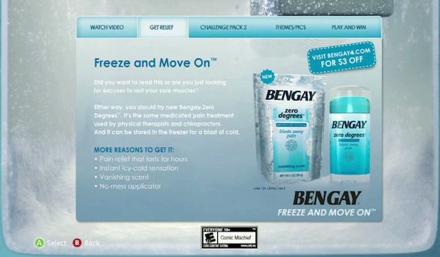A Bengay campaign that ran on Xbox 360