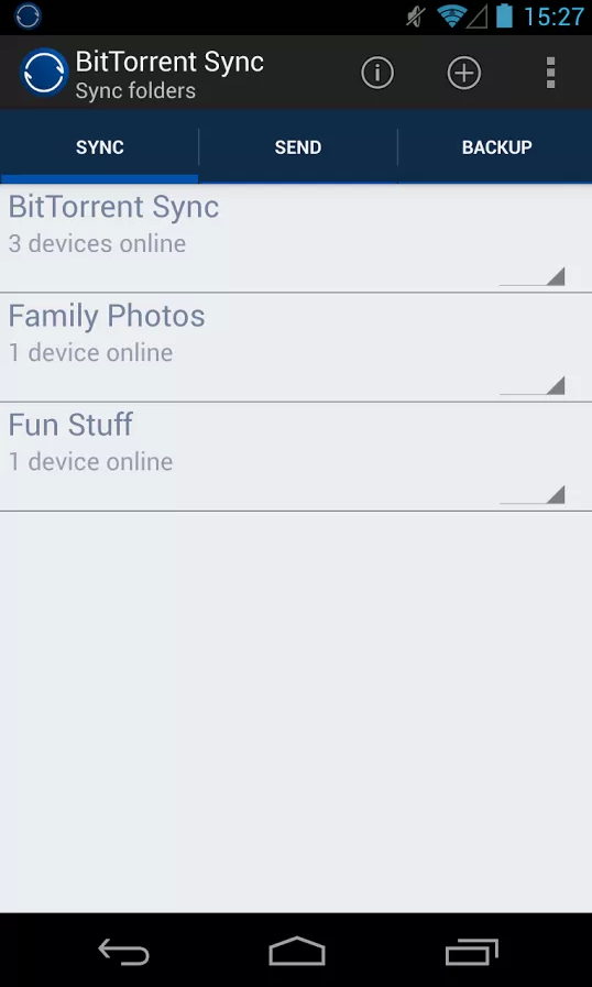 BitTorrent Sync for Android.