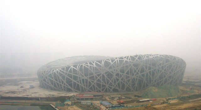 Pollution in Beijing during the construction of its Olympic stadium.
