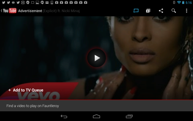 The text at the bottom left of the screen is selectable to add YouTube videos to a queue.