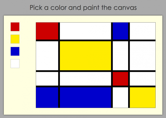 One of Jennifer Dewalt's creations, this webpage lets visitors create paintings in the style of Piet Mondriaan.