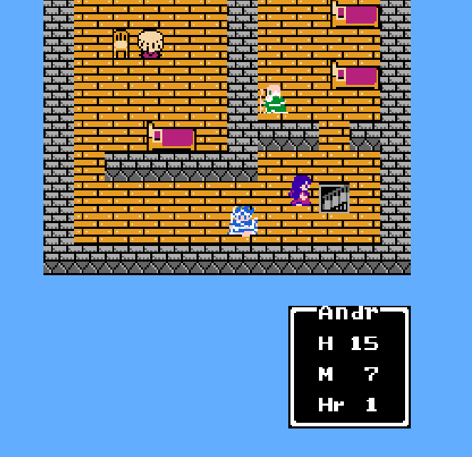 Three sets of three tile colors and three sets of three sprite colors can be used onscreen at once. Each character in this <em>Dragon Warrior III</em> screenshot uses a different set of three colors.
