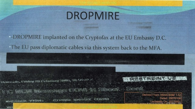 Part of a secret document published by <em>The Guardian</em> detailing &quot;Dropmire,&quot; a program that reportedly spied on encrypted faxes sent to the European Union's Washington, DC, mission.