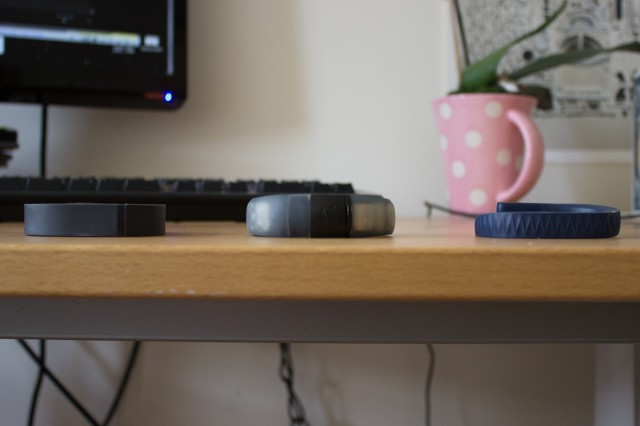From left: the Fitbit Flex, Nike Fuelband, and Jawbone Up.