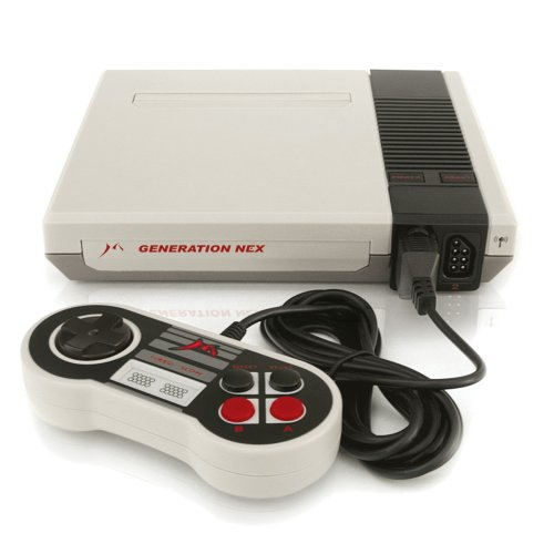 The Generation Nex, a prominent NES clone that can accept both NES and Famicom cartridges.