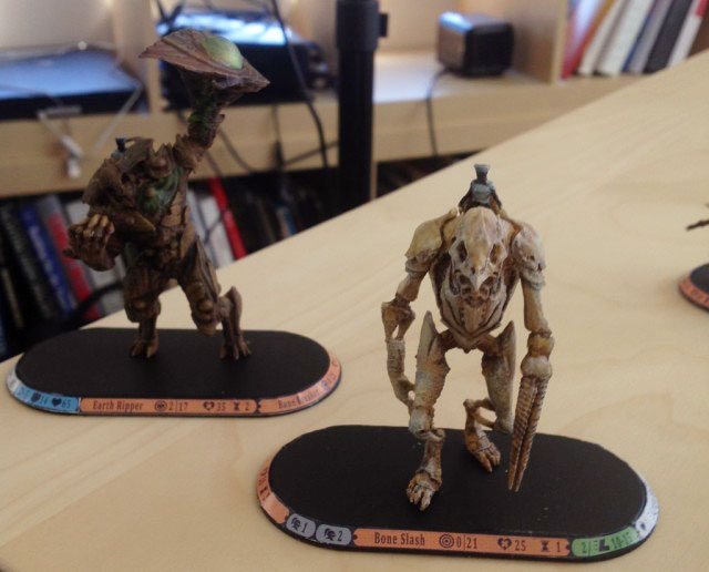 "A few of the ""pre-pre-pre-alpha"" figures being used in the development of Golem Arcana."