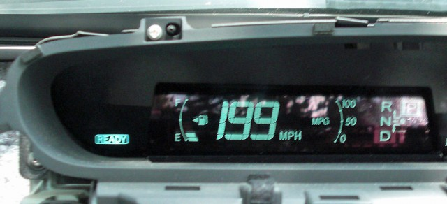 Unsafe at any speed: The speedometer of a 2010 Toyota Prius that has been hacked to report an incorrect reading.