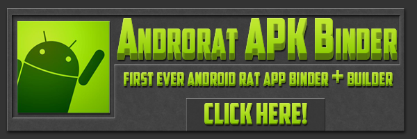 "A banner ad from a malware marketplace for a ""binder"" kit for the Androrat remote administration tool."