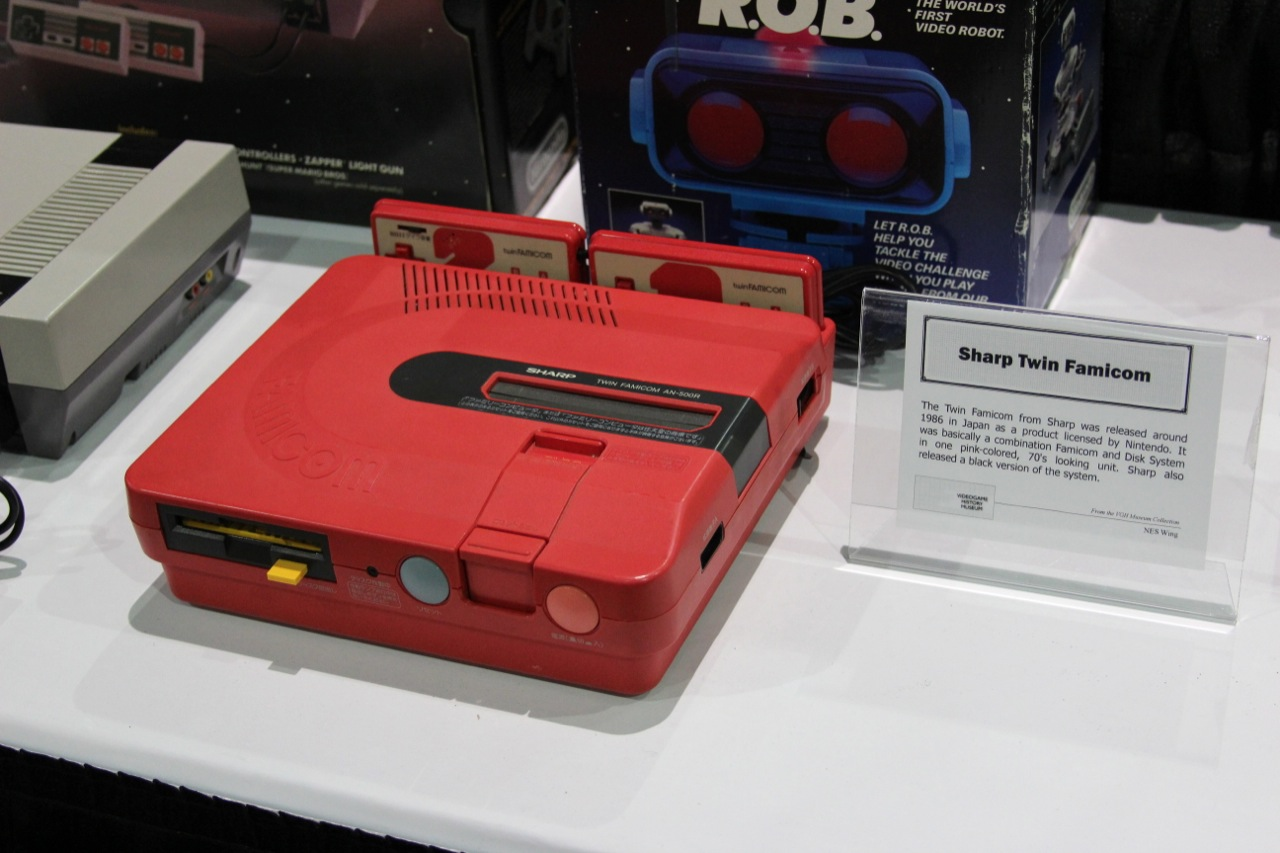 The Sharp Twin Famicom was a licensed Famicom clone that combined the Famicom and the FDS into a single package.