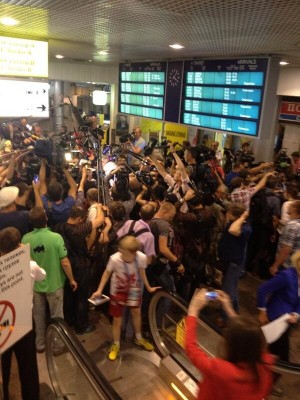 Reporters gathered at Moscow's Shermetyevo Airport.