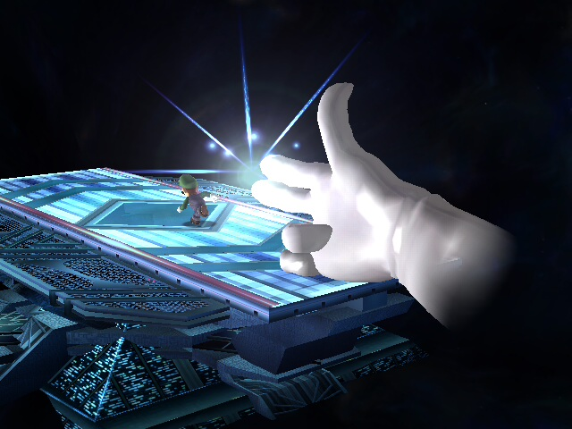 In this image, the hand represents Nintendo and Luigi represents the tournament organizers.