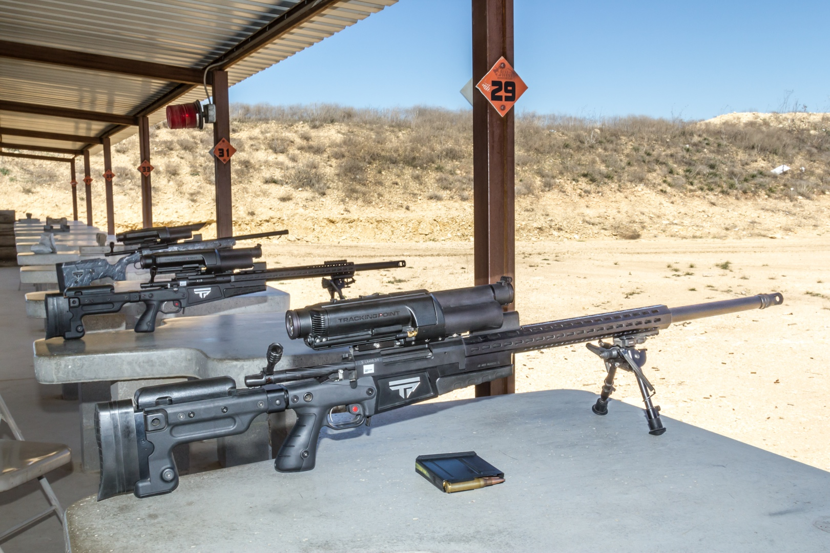 TrackingPoint's existing PGFs are all bolt-action hunting rifles, accurate out to between 800 and 1200 yards, depending on the model.