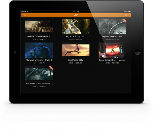 A selection of videos on VLC 2.0 running on an iPad.
