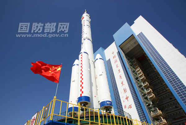 Shenzhou 9's Long March-2F, prior to launch.