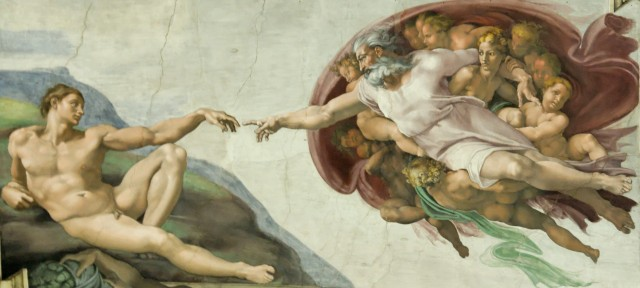 Michelangelo may not have intended to make the shape behind the figure of God look like a human brain.
