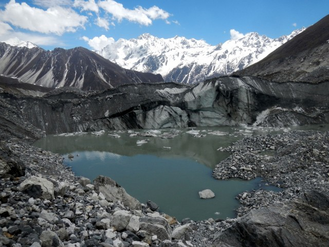 Meltwater pond on Lirung Glacier.