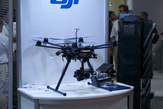 Small drones like this DJI Cinedrone could soon be buzzing around stadiums to get your close-up for the Jumbotron.