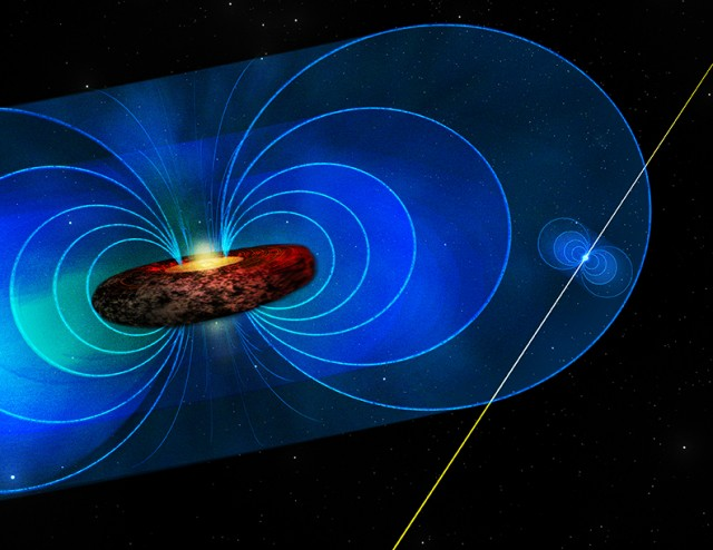 Artist's impression of a pulsar (the smaller object at the right) orbiting the central black hole of the Milky Way. The beams of light represent the pulses, which are affected by the magnetic field surrounding the black hole.