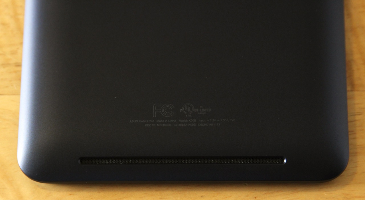 The Memo Pad has stereo speakers hidden under a single grille at the bottom of the tablet. Quality is roughly comparable to last year's Nexus 7—quiet and tinny.