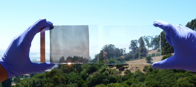 The glass in two different voltage states, showing (or obscuring) the hills near Lawrence Berkeley Lab.