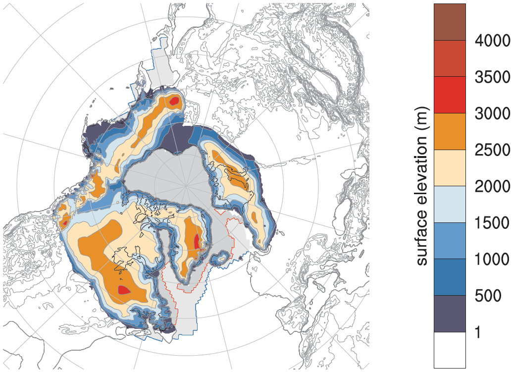 Simulation of ice sheet elevation at the peak of the last ice age using the Parallel Ice Sheet Model and the ECHAM5 climate model.