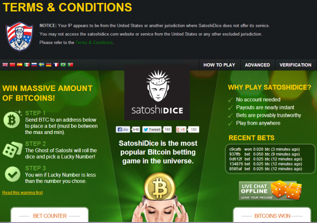 "Even though I'm ""not allowed"" to visit this site, lots of people are gambling with Bitcoin online."